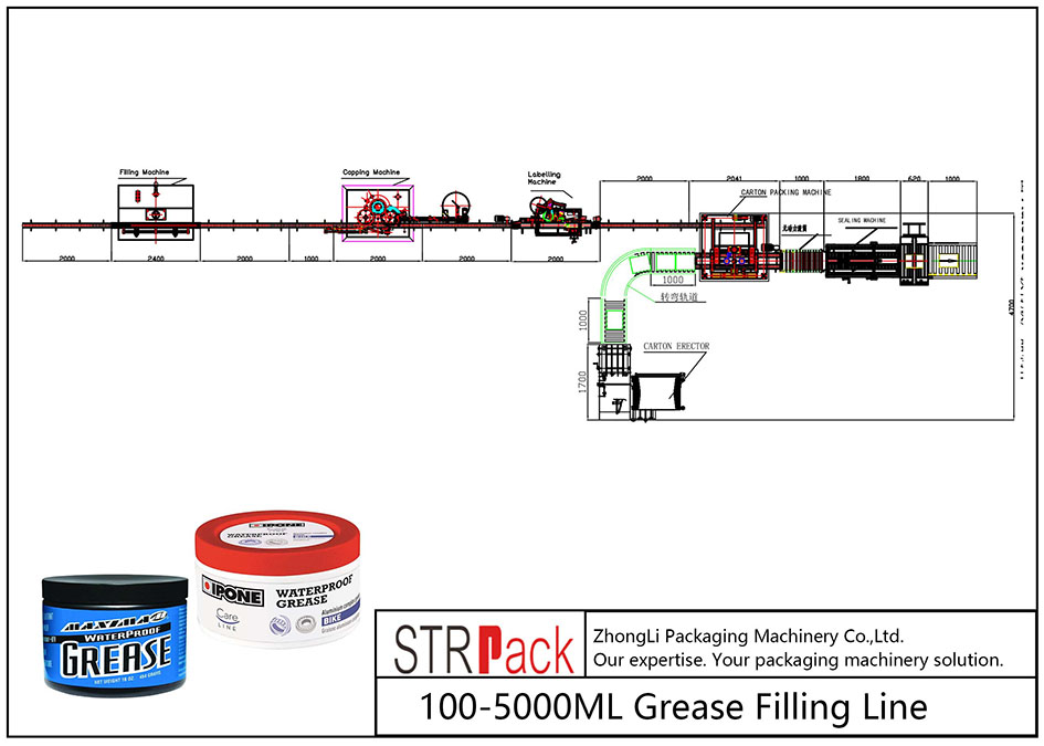 Ligne de remplissage automatique de graisse 100ML-5L