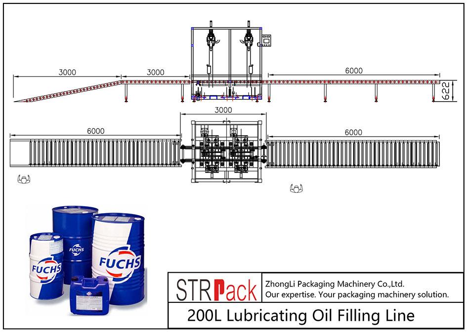 Ligne de remplissage d'huile de lubrification automatique 200L