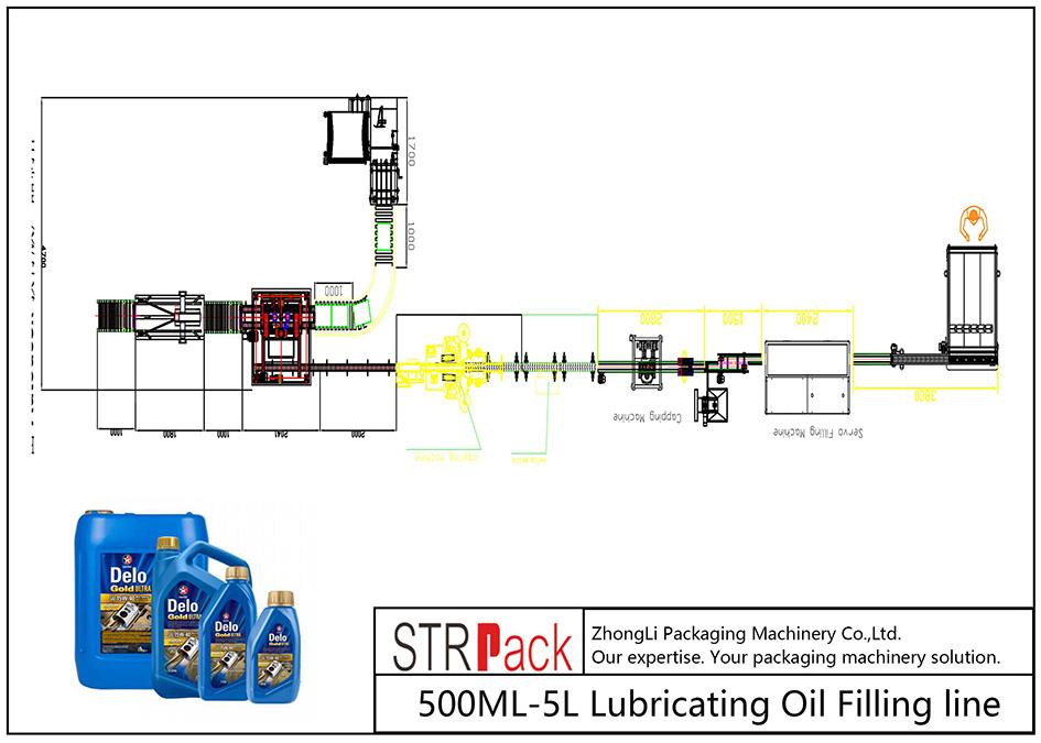 Ligne de remplissage d'huile de lubrification 500ML-5L automatique
