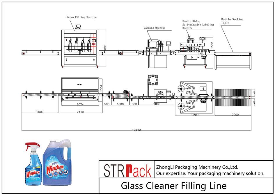 Ligne de remplissage de nettoyant pour vitres automatique