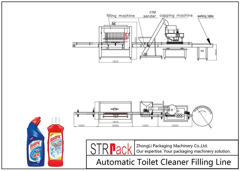 Ligne de remplissage de nettoyant pour toilettes automatique