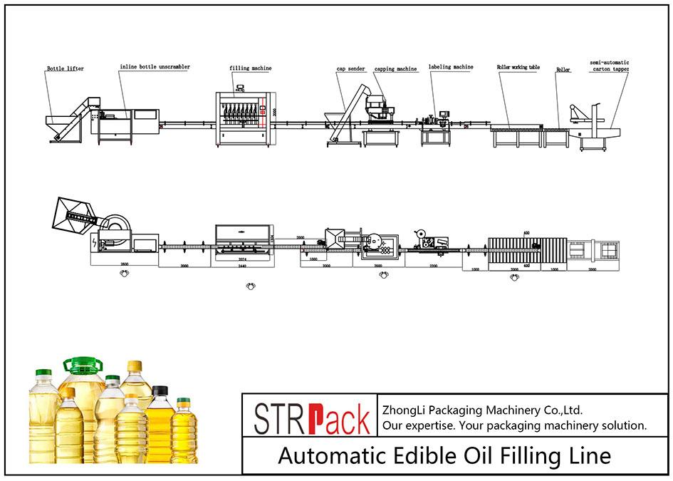 Ligne de remplissage d'huile comestible automatique