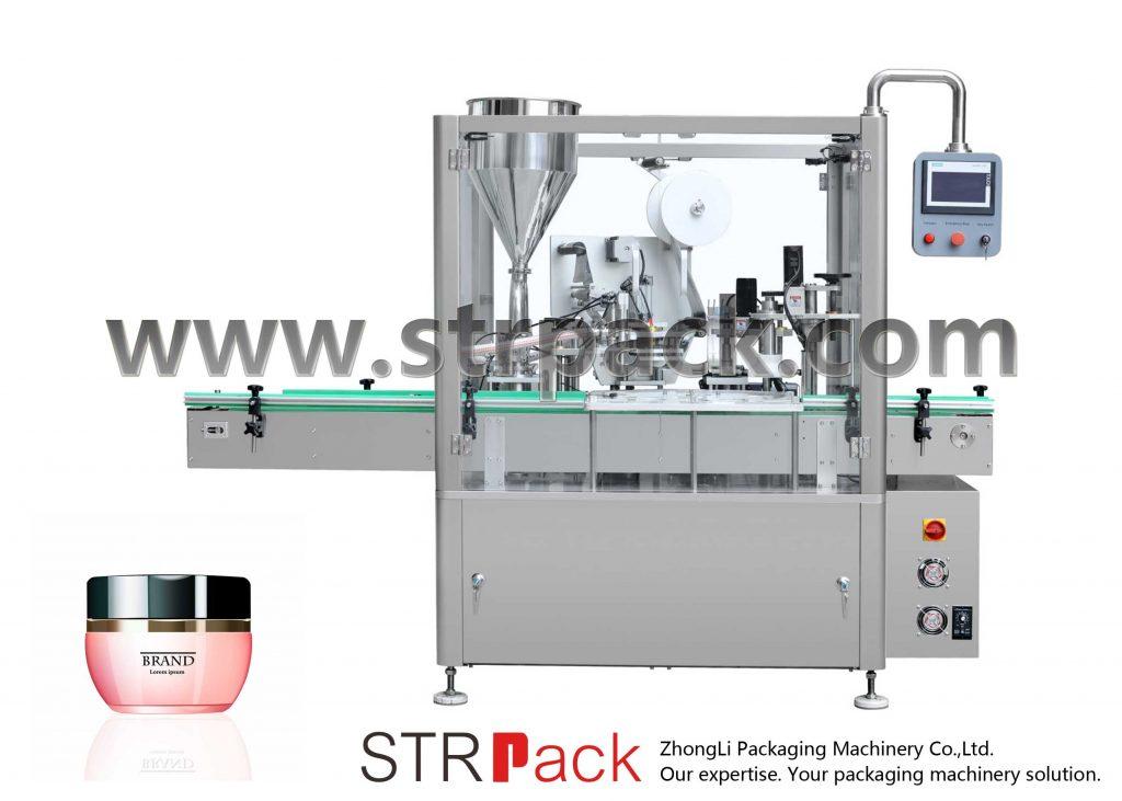 Machine de remplissage, scellage et capsulage de crème